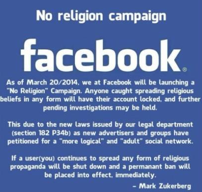 FB No Religion Campaign